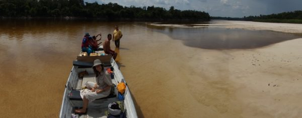 Stopping at white beache of the Inirida River, Guainia Colombia