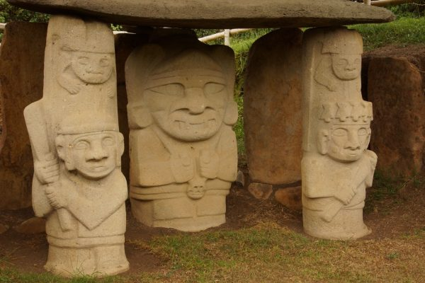 Sculptures in the archaeological park of San Agustín