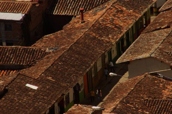 Roof with colonial tiles in Jerico, Antioquia, Colombia
